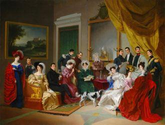 """Pietro Ayres, """"La famiglia La Marmora"""", 1828, olio su tela"""